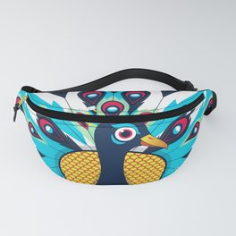 Beautiful Peacock Pose Pattern White Background Fanny Pack