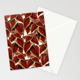 Red Leaves On White Pattern Stationery Cards