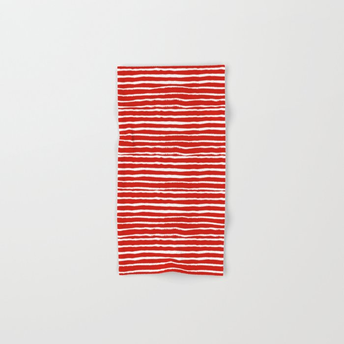 Minimal Christmas red and white holiday pattern stripes candy cane stripe pattern Hand & Bath Towel