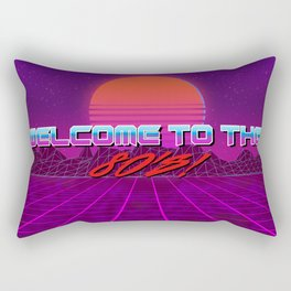 Welcome to the 80's! A synthwave styled artwork (with text) Rectangular Pillow