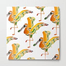 Gold Pelican Bird Metal Print