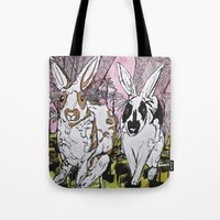 bunny Tote Bags featuring Bunny by Dawn Patel Art