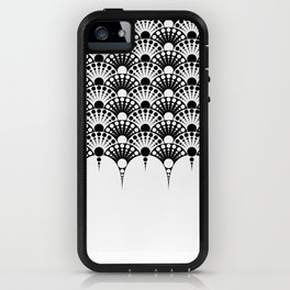 black and white art deco inspired fan pattern iPhone Case