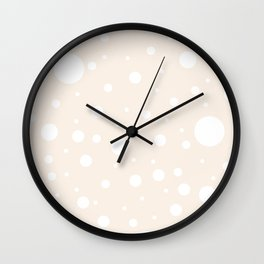 Mixed Polka Dots - White on Linen Wall Clock