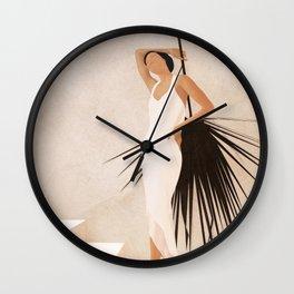 Minimal Woman with a Palm Leaf Wall Clock