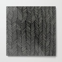 Herringbone Cream on Black Metal Print