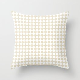 Small Diamonds - White and Pearl Brown Throw Pillow