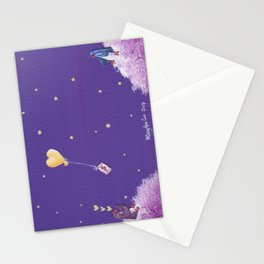 Penguin Sends Love Letter with Heart Balloon to Friend Across Starry Sky Stationery Cards