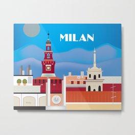 Milan, Italy - Skyline Illustration by Loose Petals Metal Print