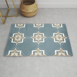 Teal and Taupe Mosaic Pattern Rug