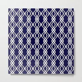 Dark blue and white curved lines Metal Print