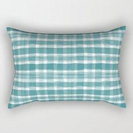 Watercolor Brushstroke Plaid Pattern Pantone Deep Lake Teal 18-4834 on White Rectangular Pillow