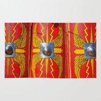 military Area & Throw Rugs featuring Roman Military Shield - Scutum by digital2real