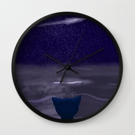 Cat and a shooting star Wall Clock