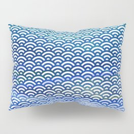 Black/Blue/Teal/Green Watercolor Seigaiha Pattern Pillow Sham
