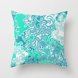 Cells Blue Throw Pillow