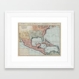 Vintage Map of The Gulf of Mexico (1732) Framed Art Print