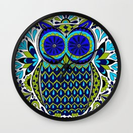 Blue Green Owl Mandala Wall Clock