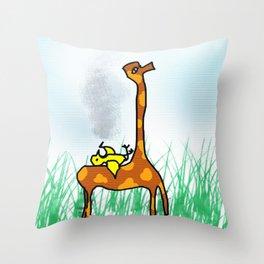 giraffe and the bird Throw Pillow