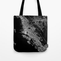 oakland Tote Bags featuring oakland map california by Line Line Lines