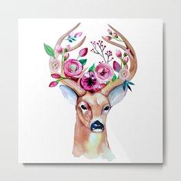 Deer Floral 1 Metal Print