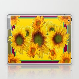 Olive Green Sunflowers Pattern Burgundy Color Floral Art Laptop & iPad Skin