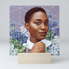 Zahra with Blue Flowers Mini Art Print