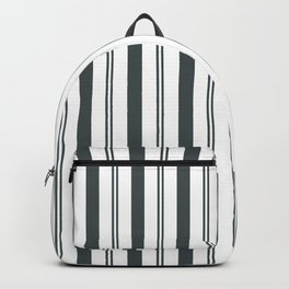 PPG Night Watch Pewter Green & White Wide & Narrow Vertical Lines Stripe Pattern Backpack
