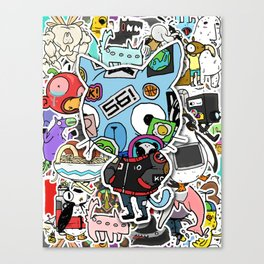 Sticker Cat Canvas Print