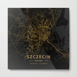 Szczecin, Poland - Gold Metal Print