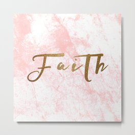 Gold Faith on Pink Marble Metal Print