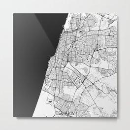 Tel Aviv Map Gray Metal Print