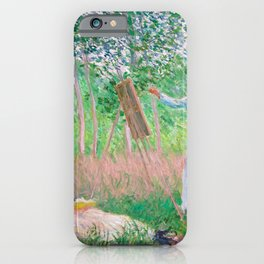 Claude Monet - In the Woods at Giverny, Blanche Hoschedé at Her Easel with Suzanne Hoschedé Reading iPhone Case