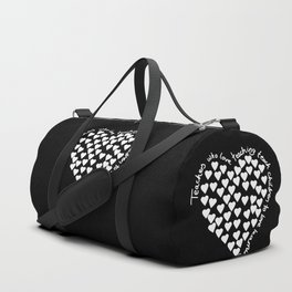 Hearts Heart Teacher White on Black Duffle Bag