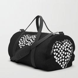 Hearts Heart Teacher White on Black Duffle Bag