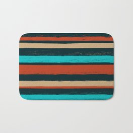 Stripes - Turquoise Tan Coffee Bath Mat
