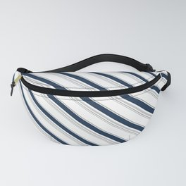 Diagonal Stripes in Navy and Gray on White Fanny Pack