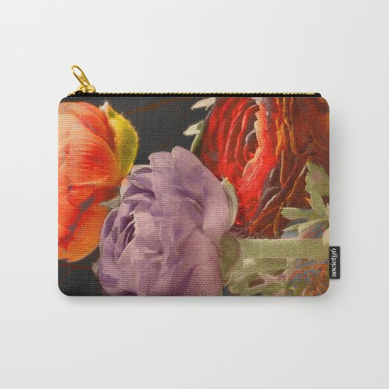 Vintage Ranunculus Carry-All Pouch