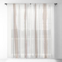 Medium Brush Strokes Vertical Nude on Off White Sheer Curtain