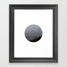Pittsburgh in the Fog [circle] Framed Art Print