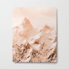 Grand Teton Mountains Peach Metal Print