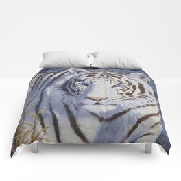 White Tiger with Blue Eyes Comforters