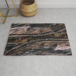 Rustic Cracked Paint Acrylic Abstract Rug