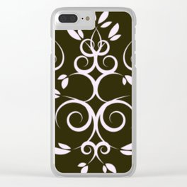 White and Light Blue Intertwining Leaves Clear iPhone Case