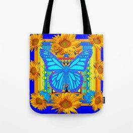 Cobalt Blue Sunflower Butterfly Art Tote Bag