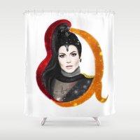 evil queen Shower Curtains featuring Regina, The Evil Queen by Clara J Aira