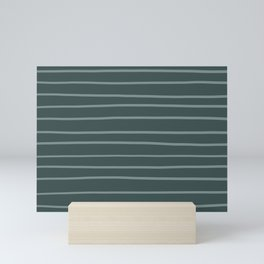 Scarborough Green PPG1145-5 Hand Drawn Horizontal Stripes on Night Watch PPG1145-7 Mini Art Print