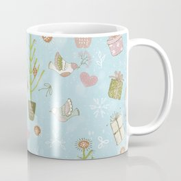 From Bunnies And Christmas - Cute teal X-Mas Pattern Coffee Mug