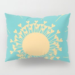 Yellow Dandelion Hearts On Teal Background Pillow Sham