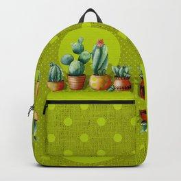 """Green Lemon Cactus Polka Dots"" Backpack"
